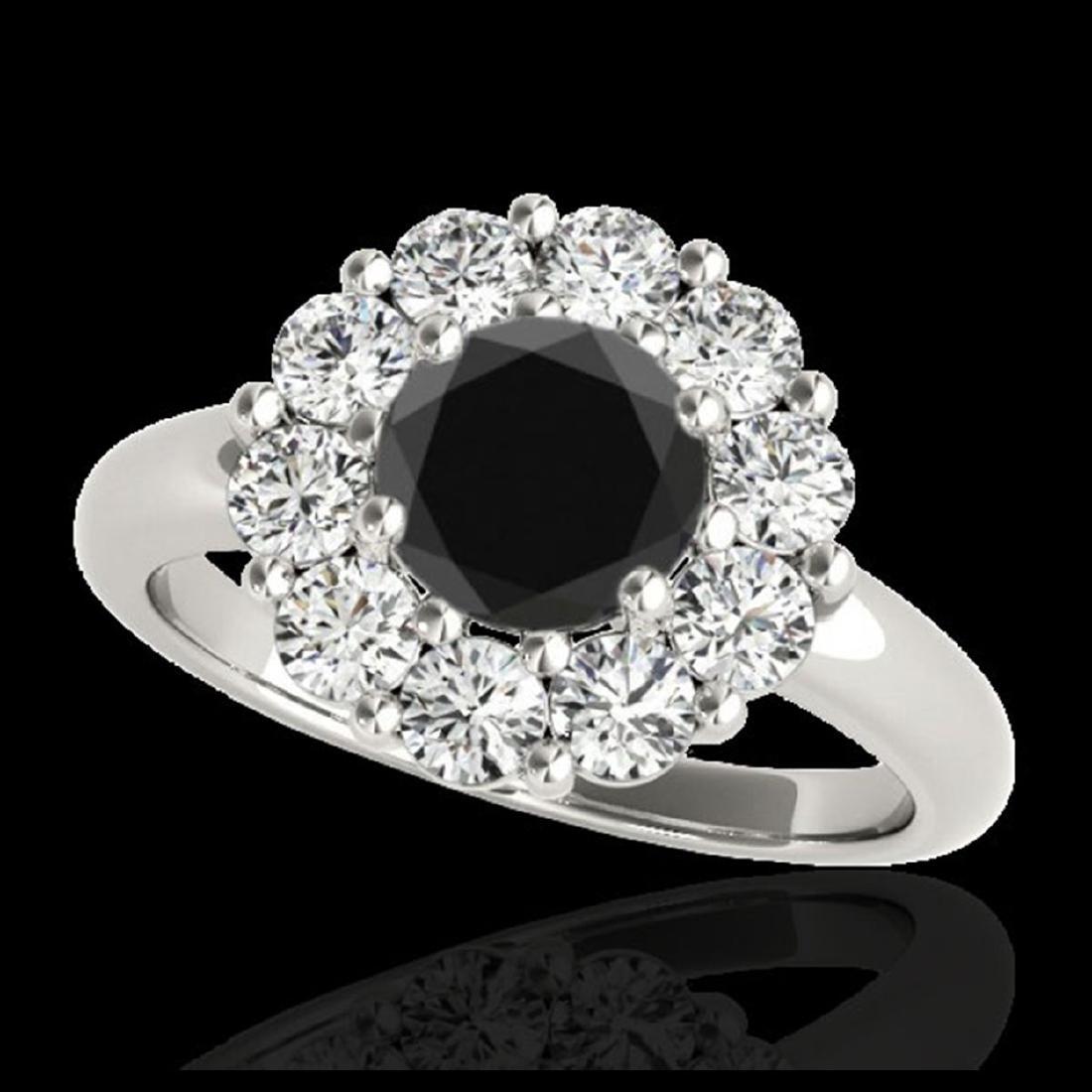 2.85 ctw VS Black Diamond Solitaire Halo Ring 10K White