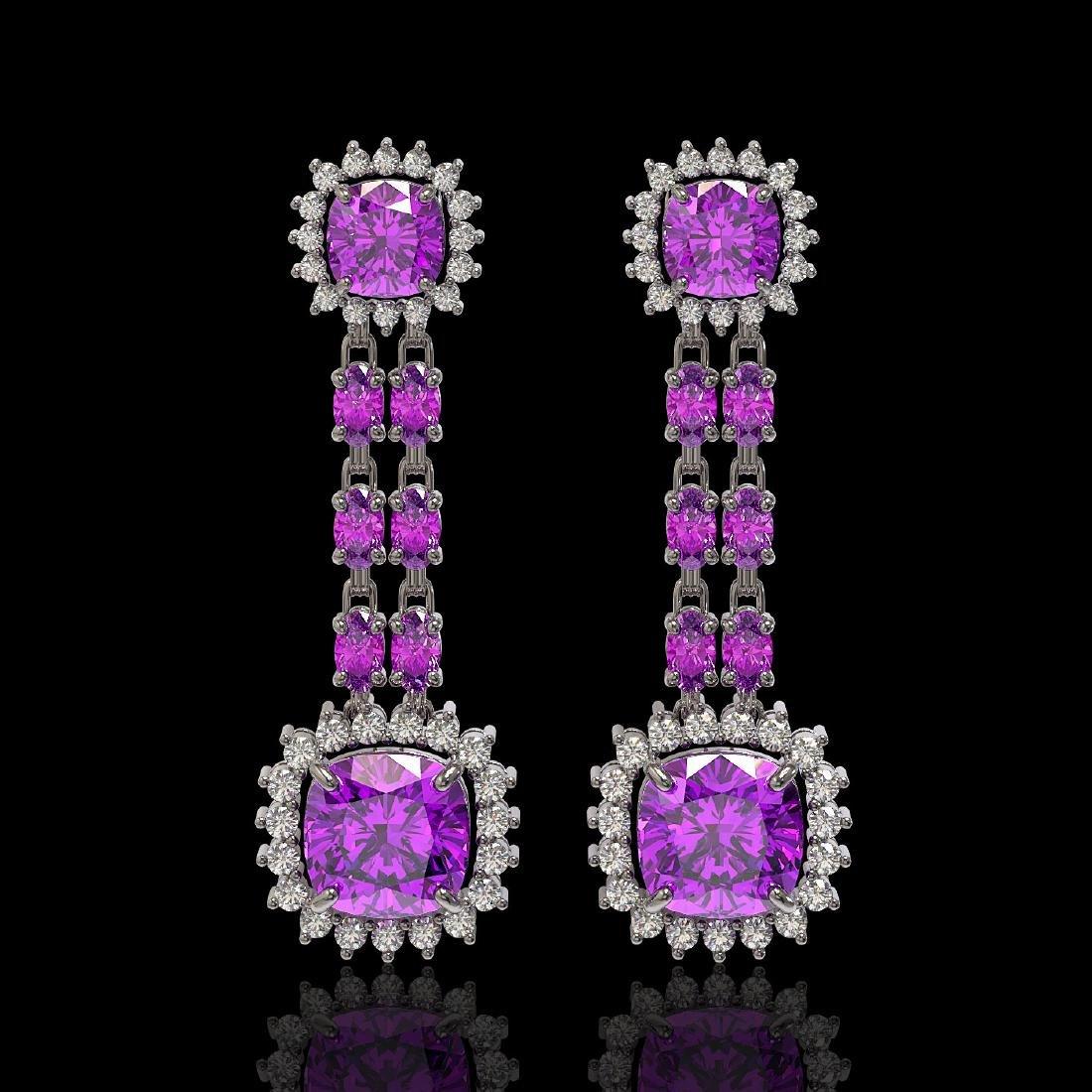 18.96 ctw Amethyst & Diamond Earrings 14K White Gold -