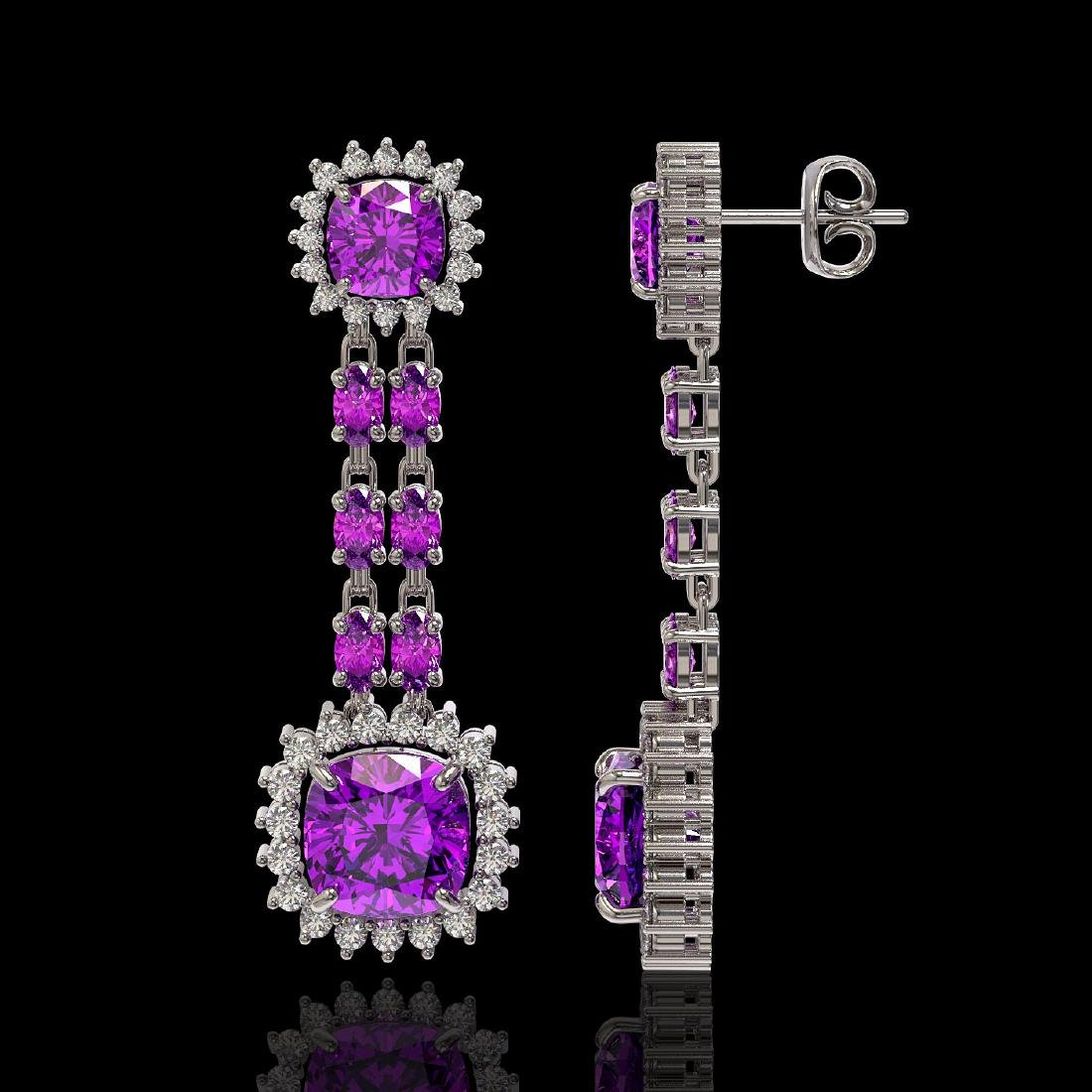 18.96 ctw Amethyst & Diamond Earrings 14K White Gold - - 2