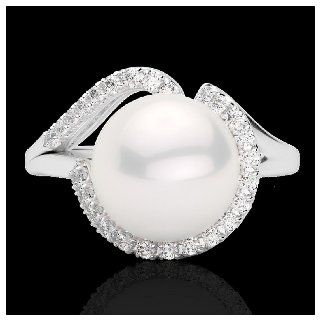 0.27 ctw VS/SI Diamond & White Pearl Ring 18K White