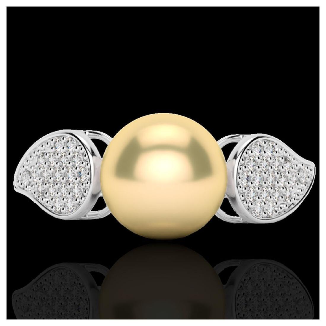 0.27 ctw VS/SI Diamond & Golden Pearl Ring 18K White