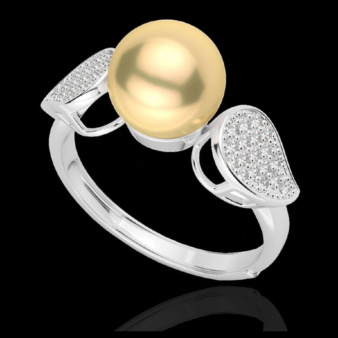0.27 ctw VS/SI Diamond & Golden Pearl Ring 18K White - 2