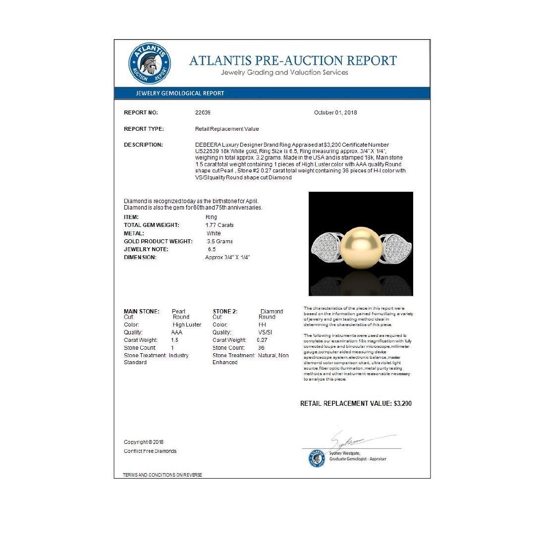 0.27 ctw VS/SI Diamond & Golden Pearl Ring 18K White - 3