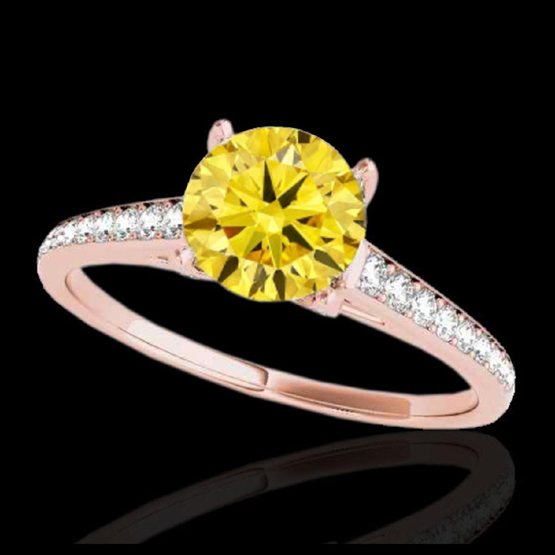 2 ctw SI/I Fancy Intense Yellow Diamond Ring 10K Rose