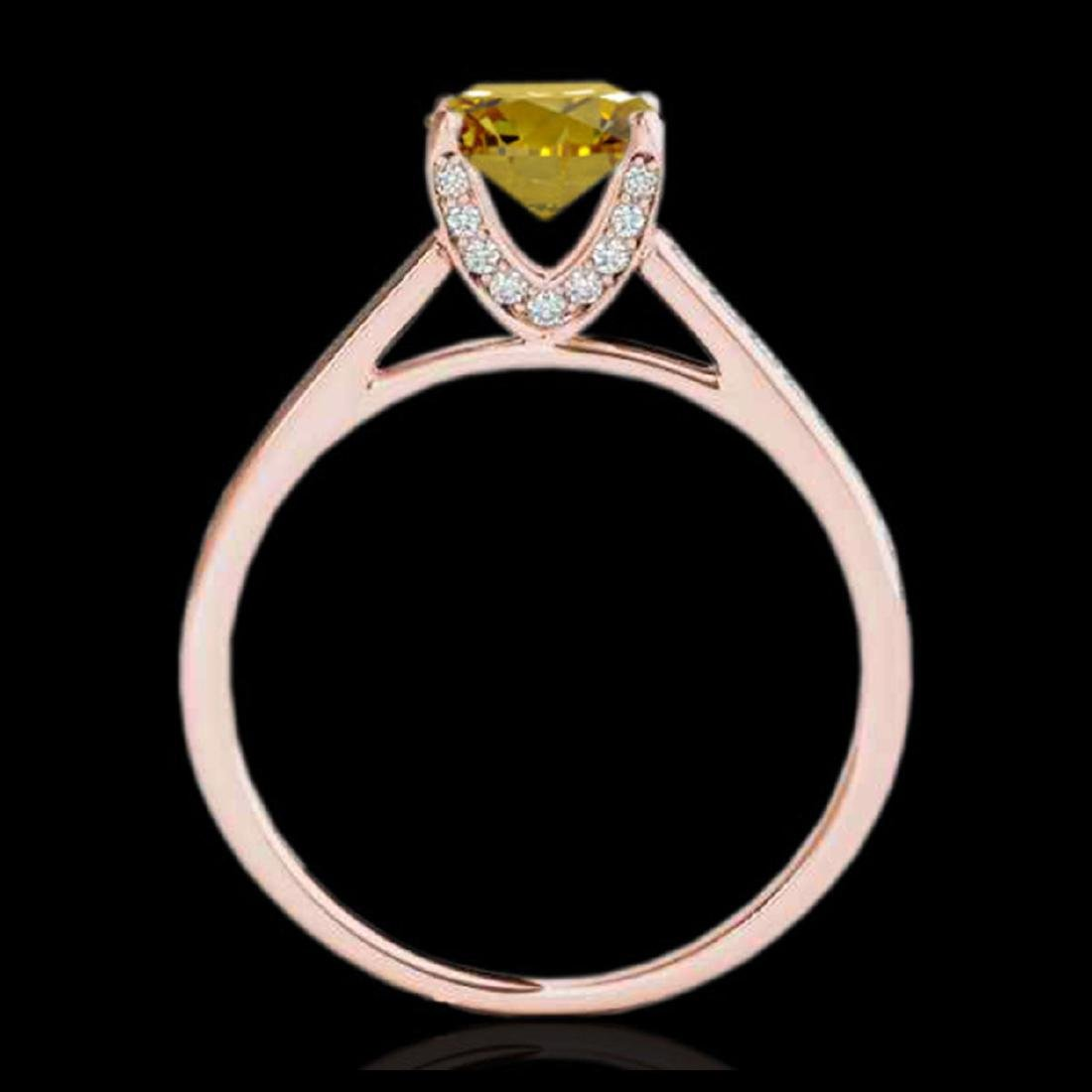 2 ctw SI/I Fancy Intense Yellow Diamond Ring 10K Rose - 2
