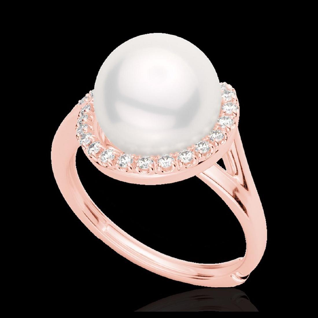 0.27 ctw VS/SI Diamond & White Pearl Ring 14K Rose Gold - 2