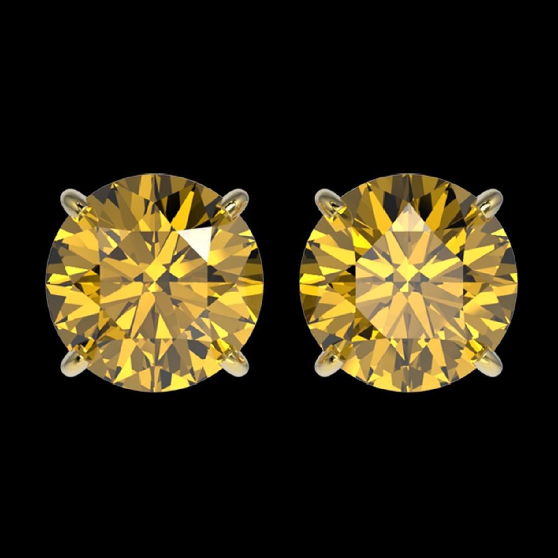 3 ctw Intense Yellow Diamond Stud Earrings 10K Yellow