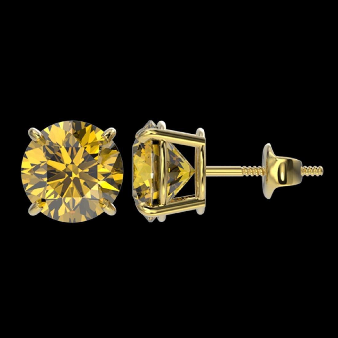 3 ctw Intense Yellow Diamond Stud Earrings 10K Yellow - 2