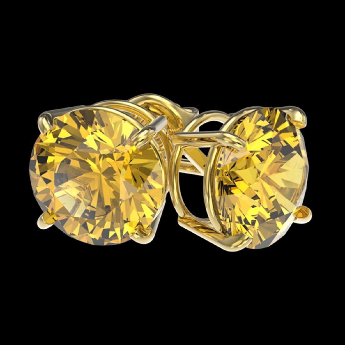 3 ctw Intense Yellow Diamond Stud Earrings 10K Yellow - 3