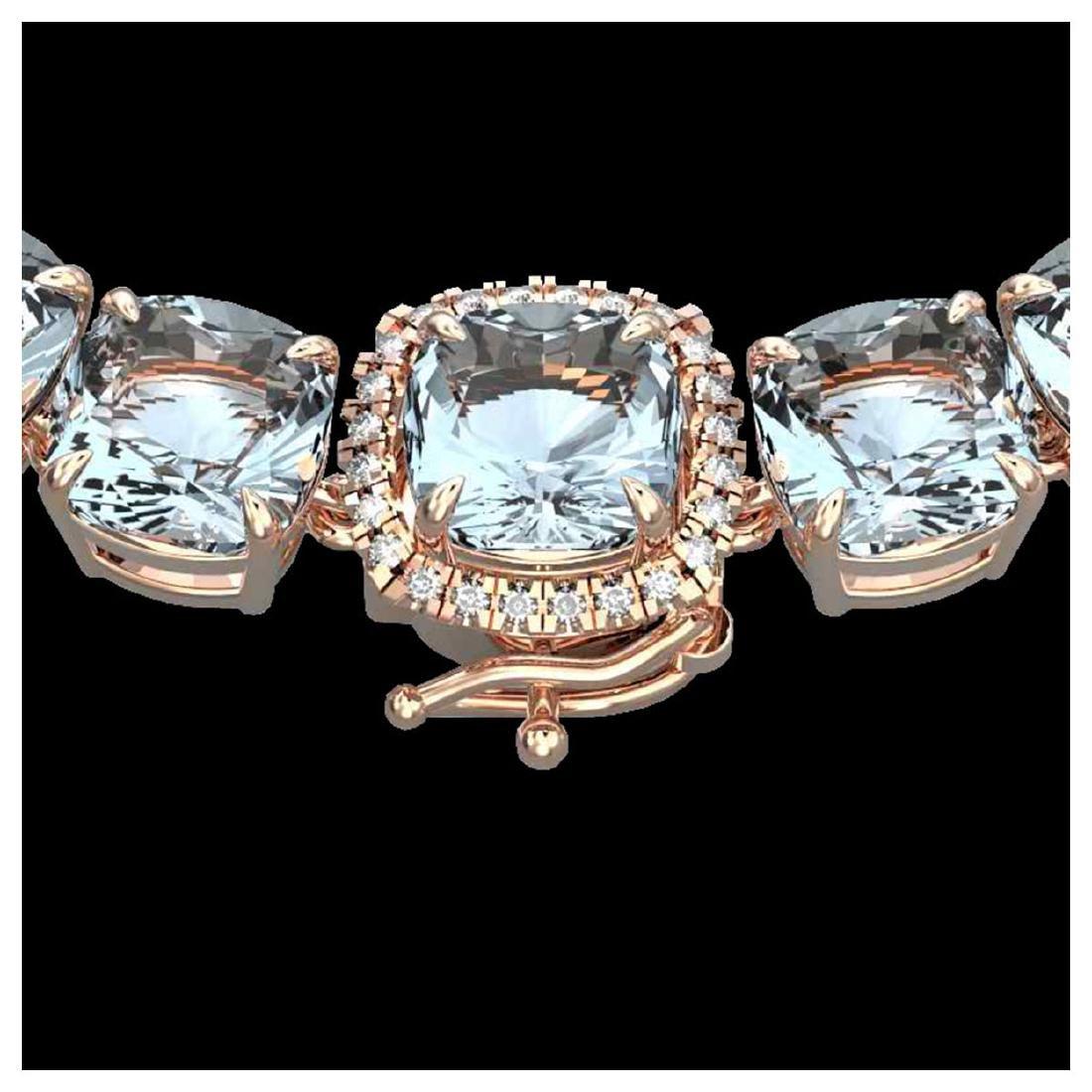 87 ctw Aquamarine & Diamond Eternity Necklace 14K Rose