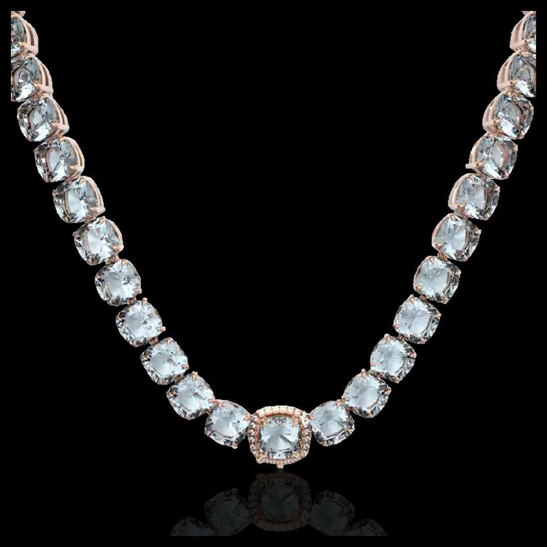 87 ctw Aquamarine & Diamond Eternity Necklace 14K Rose - 2