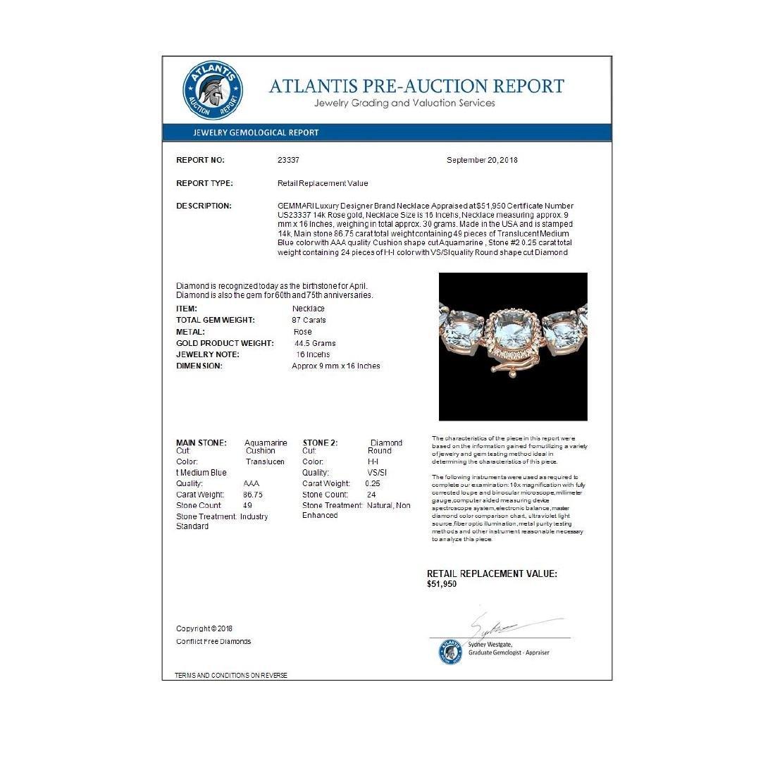 87 ctw Aquamarine & Diamond Eternity Necklace 14K Rose - 3