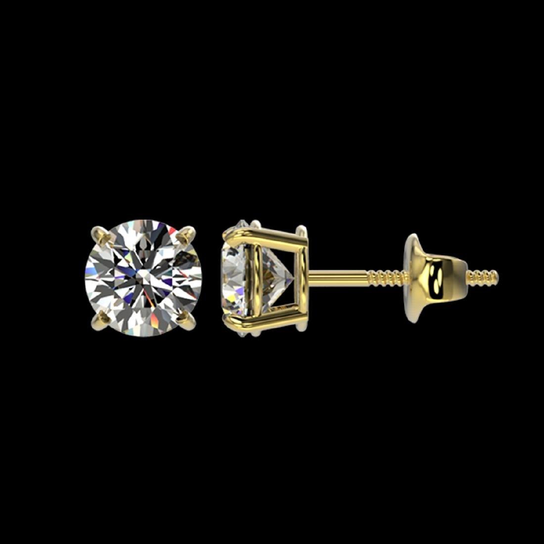 1.03 ctw H-SI/I Diamond Stud Earrings 10K Yellow Gold - - 2