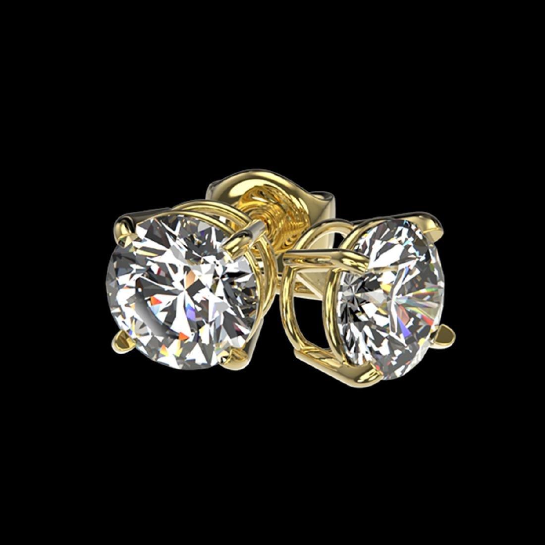 1.03 ctw H-SI/I Diamond Stud Earrings 10K Yellow Gold - - 3