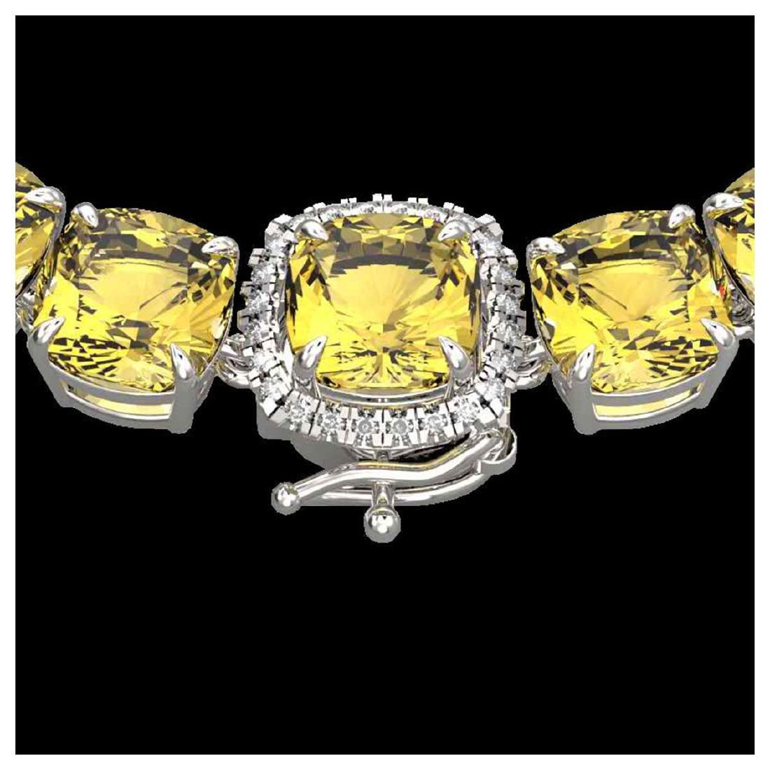 87 ctw Citrine & Diamond Necklace 14K White Gold -