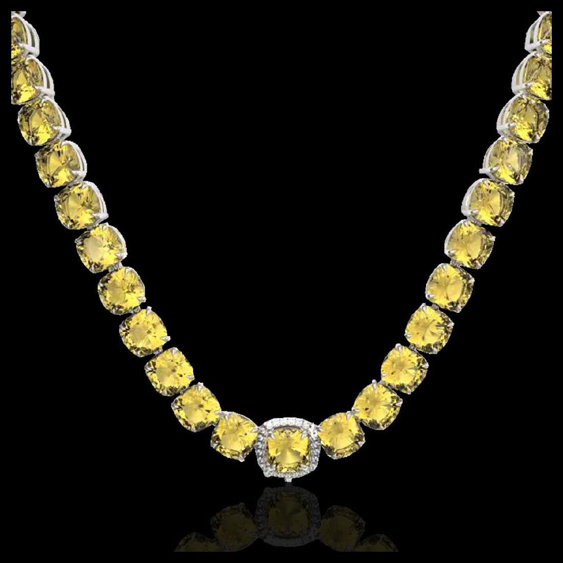87 ctw Citrine & Diamond Necklace 14K White Gold - - 2