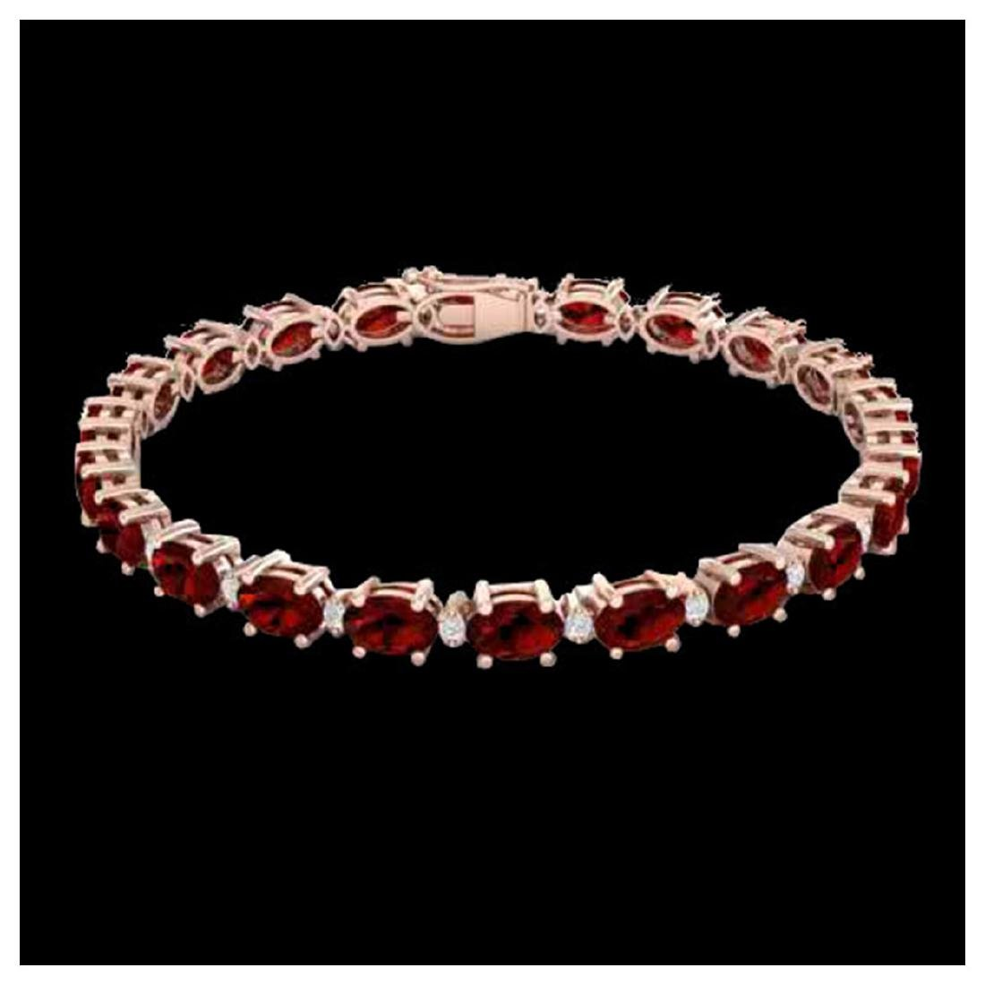 15 ctw Garnet & VS/SI Diamond Eternity Bracelet 10K - 2
