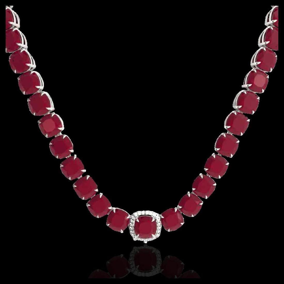 116 ctw Ruby & Diamond Eternity Necklace 14K White Gold - 2