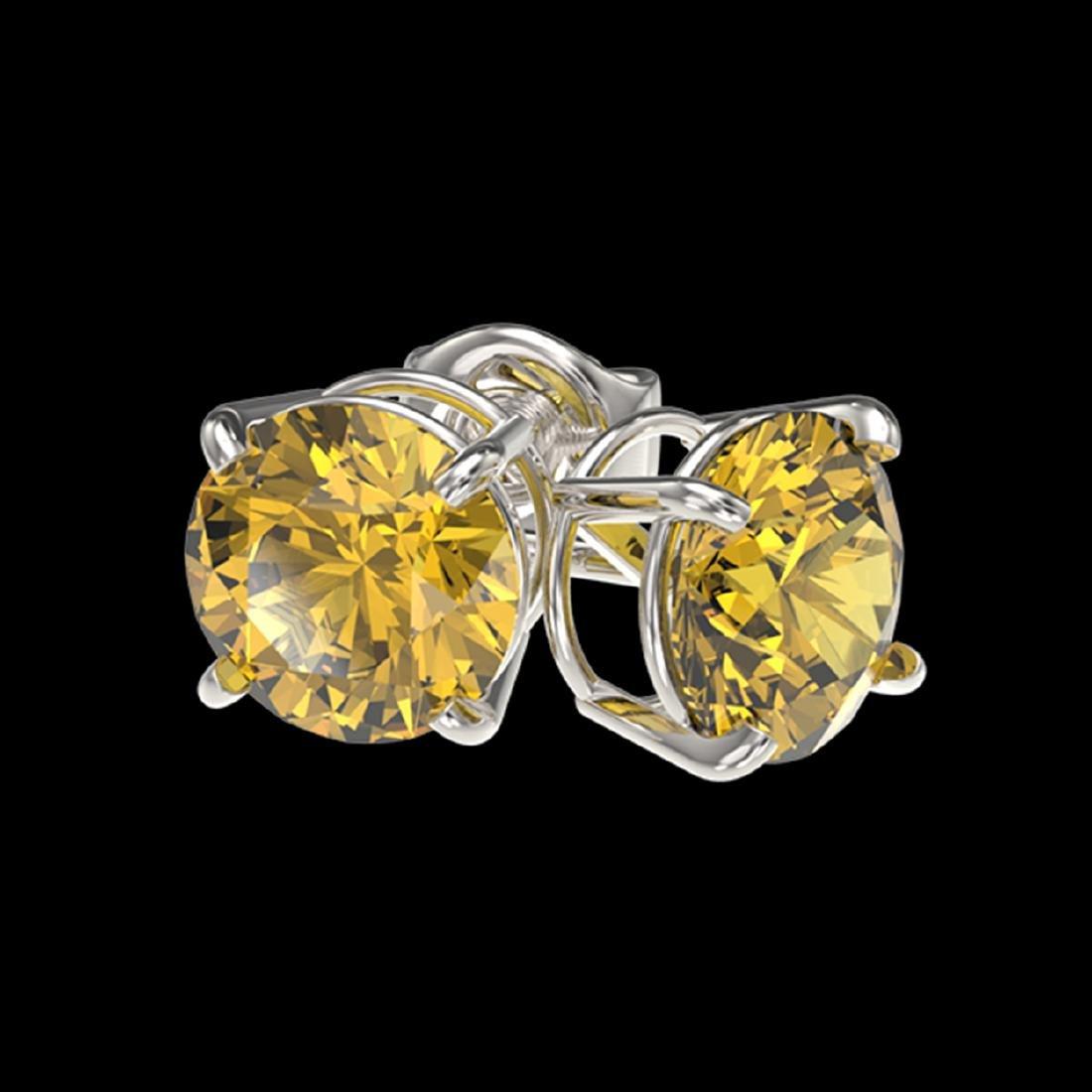 1.54 ctw Intense Yellow Diamond Stud Earrings 10K White - 3