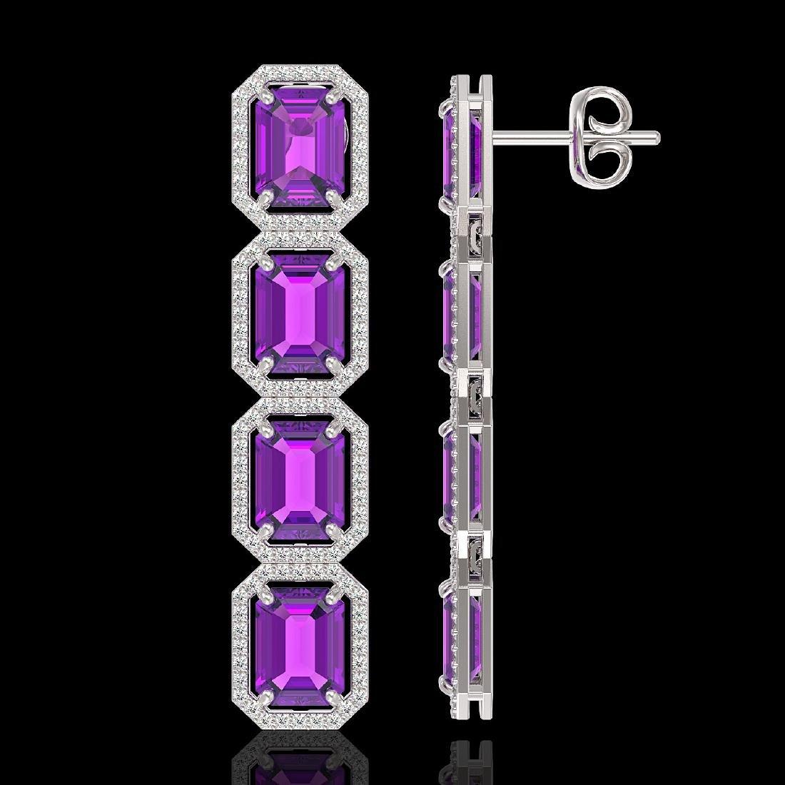 18.59 ctw Amethyst & Diamond Halo Earrings 10K White - 2