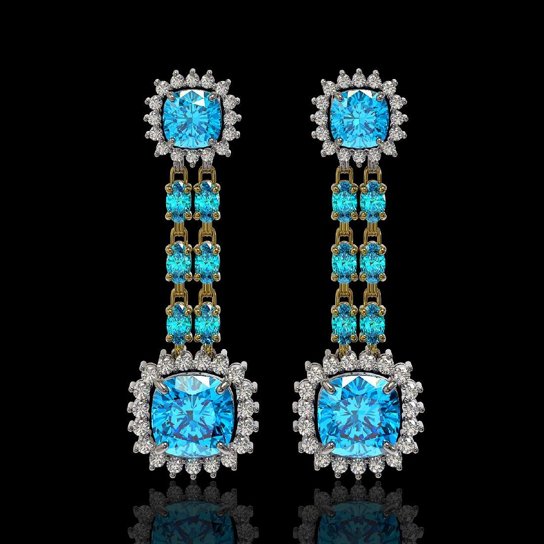 19.64 ctw Swiss Topaz & Diamond Earrings 14K Yellow