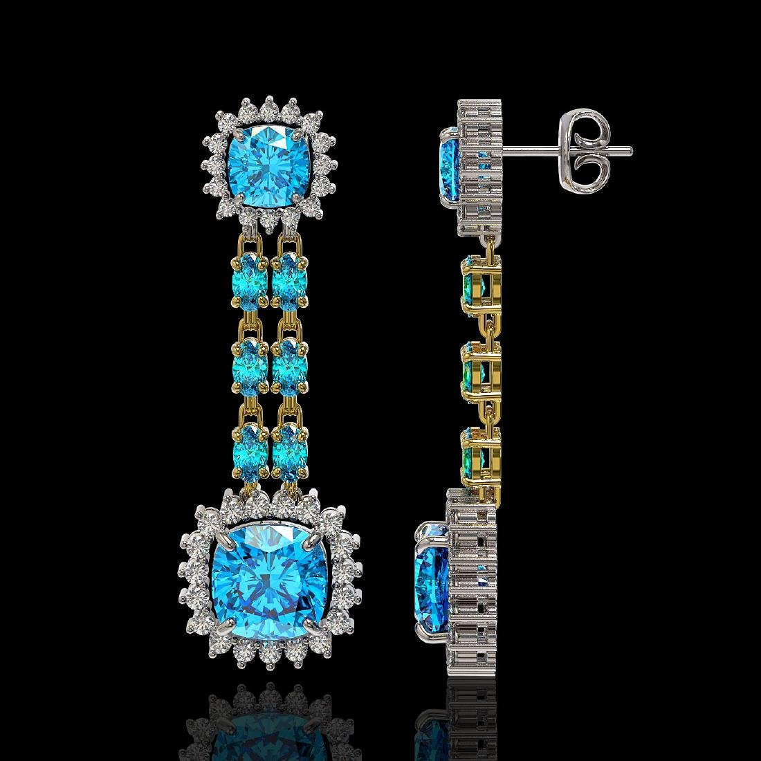 19.64 ctw Swiss Topaz & Diamond Earrings 14K Yellow - 2