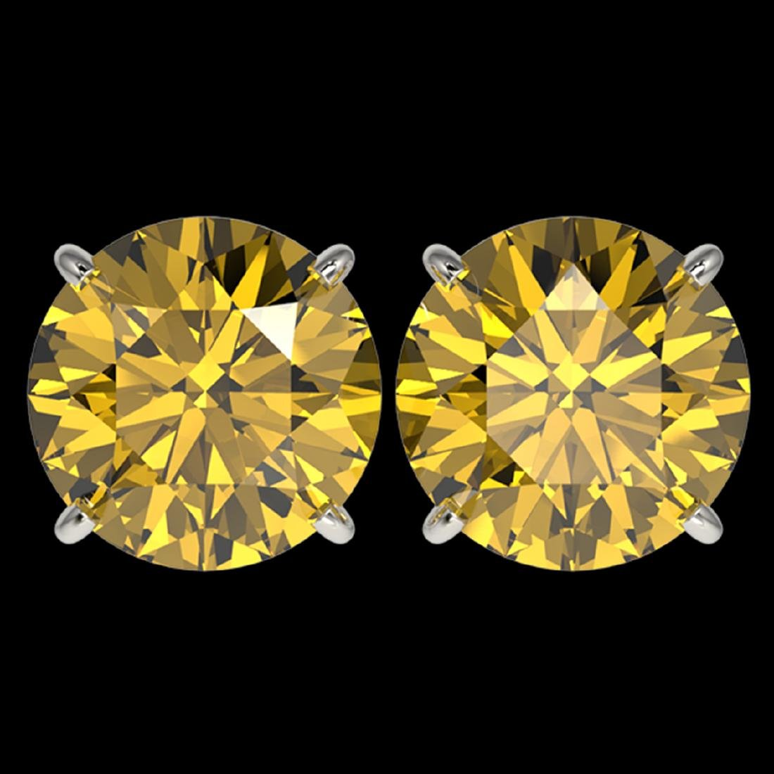5 ctw Intense Yellow Diamond Stud Earrings 10K White
