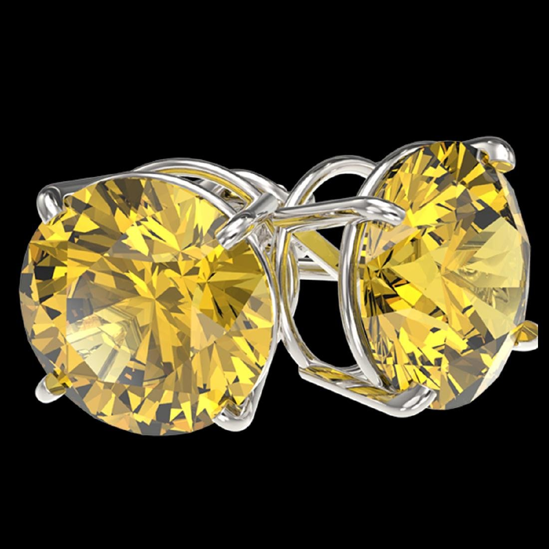 5 ctw Intense Yellow Diamond Stud Earrings 10K White - 3