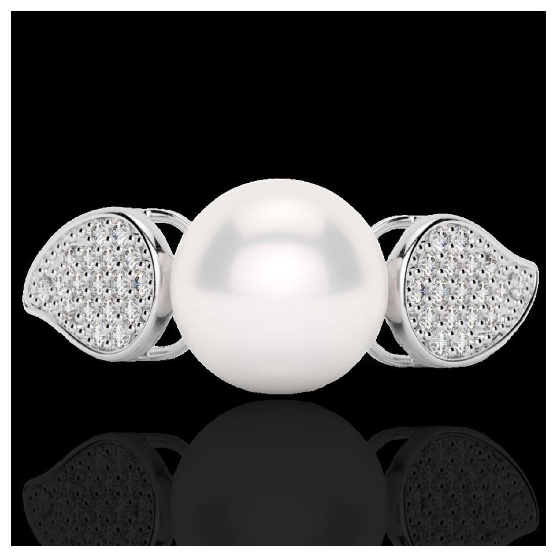 0.27 ctw VS/SI Diamond & Pearl Ring 18K White Gold -