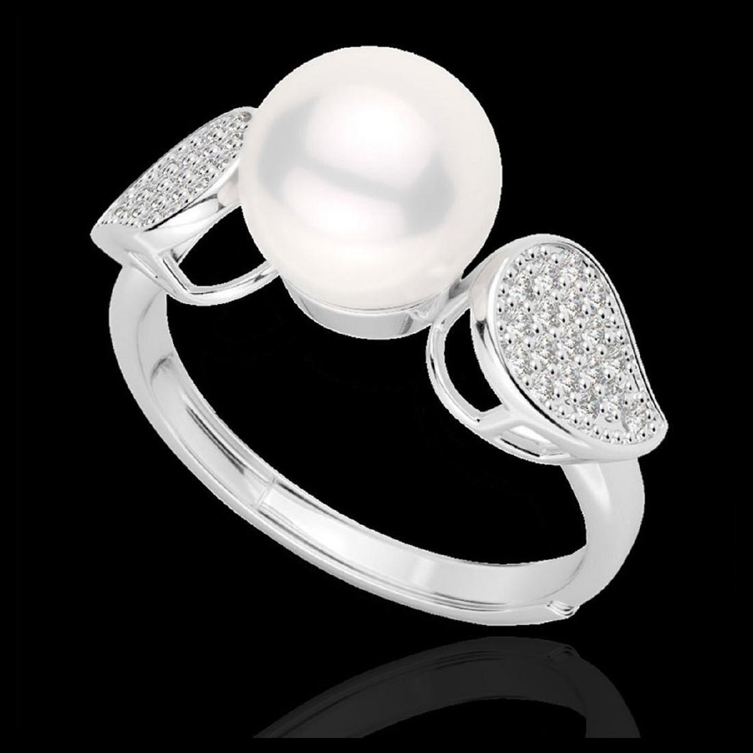 0.27 ctw VS/SI Diamond & Pearl Ring 18K White Gold - - 2