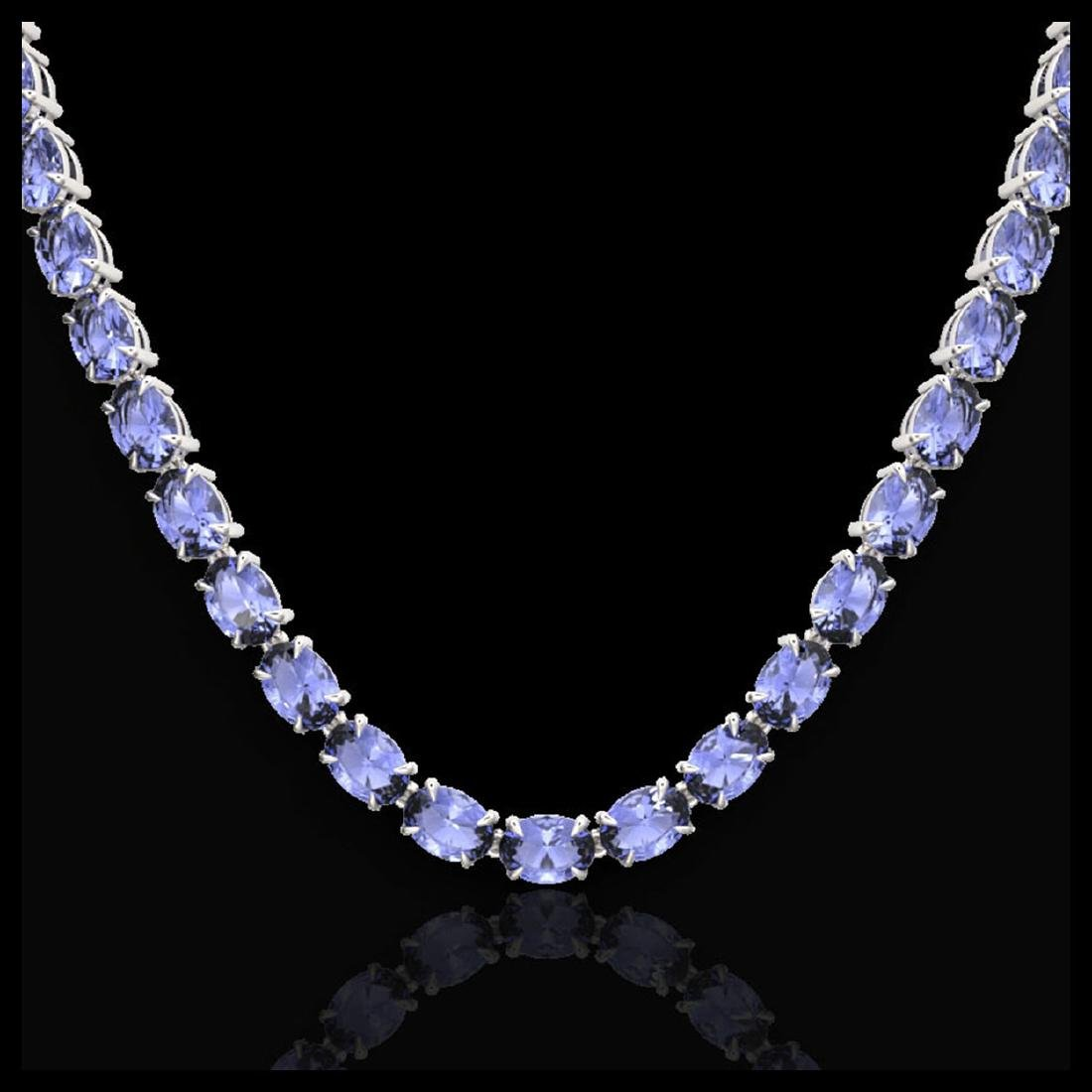 56 ctw Tanzanite Eternity Necklace 14K White Gold - - 2