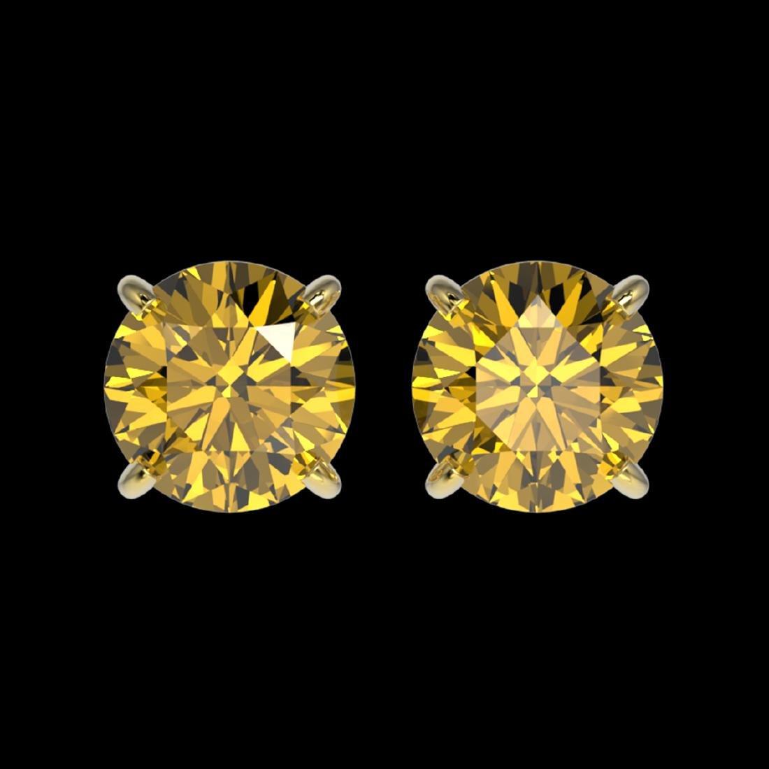 1.54 ctw Intense Yellow Diamond Stud Earrings 10K