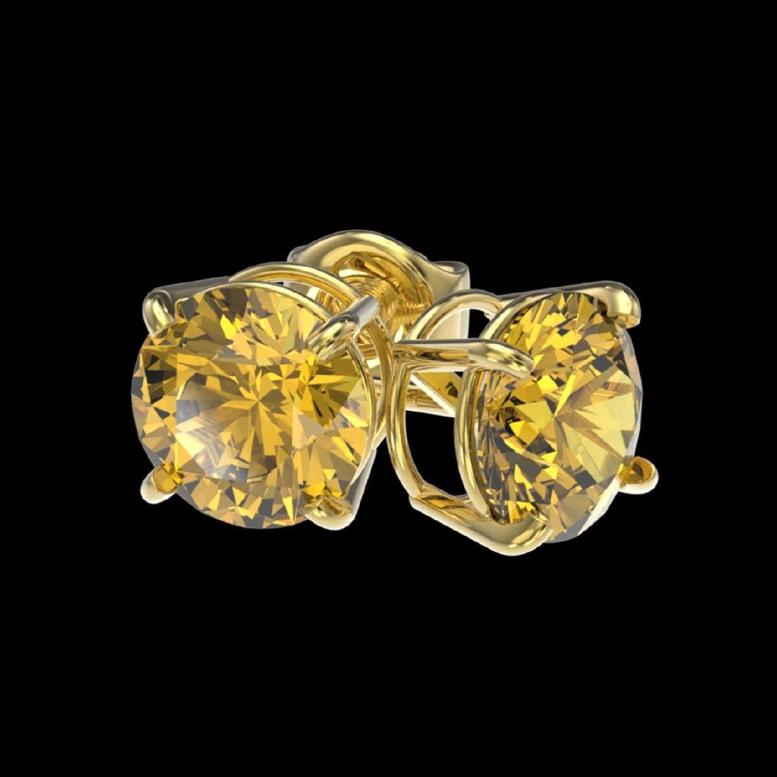1.54 ctw Intense Yellow Diamond Stud Earrings 10K - 3