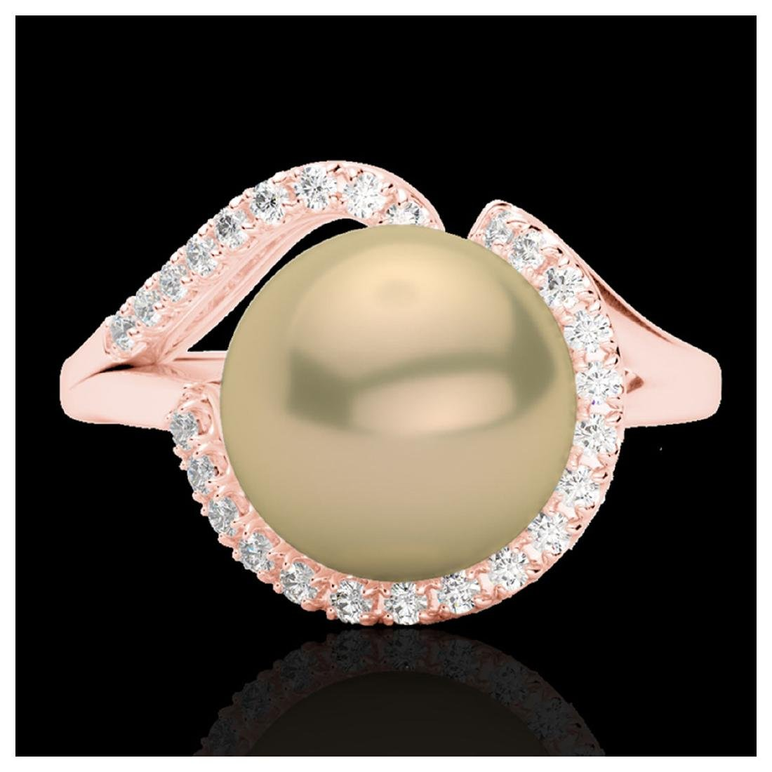 0.27 ctw VS/SI Diamond & Golden Pearl Ring 14K Rose