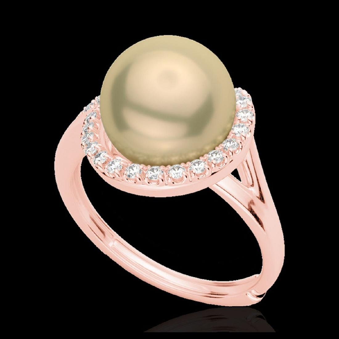 0.27 ctw VS/SI Diamond & Golden Pearl Ring 14K Rose - 2