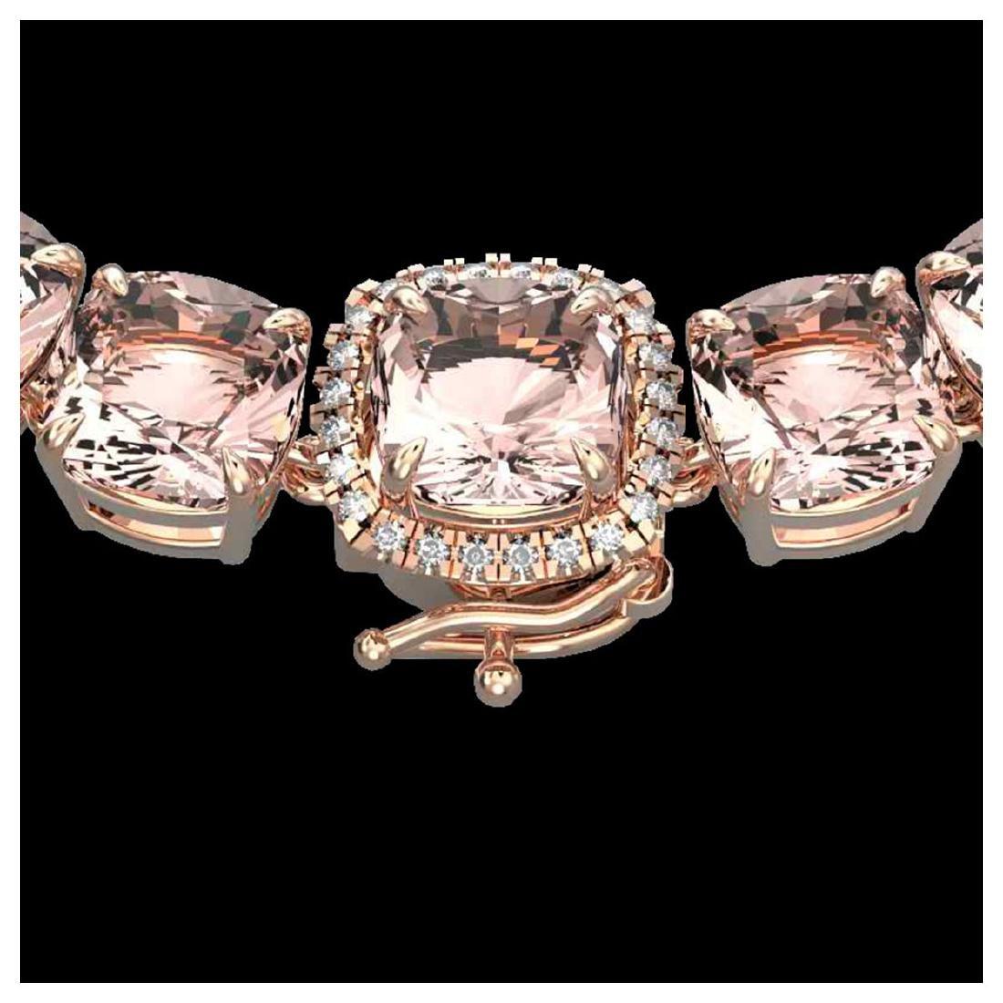 87 ctw Morganite & Diamond Necklace 14K Rose Gold -