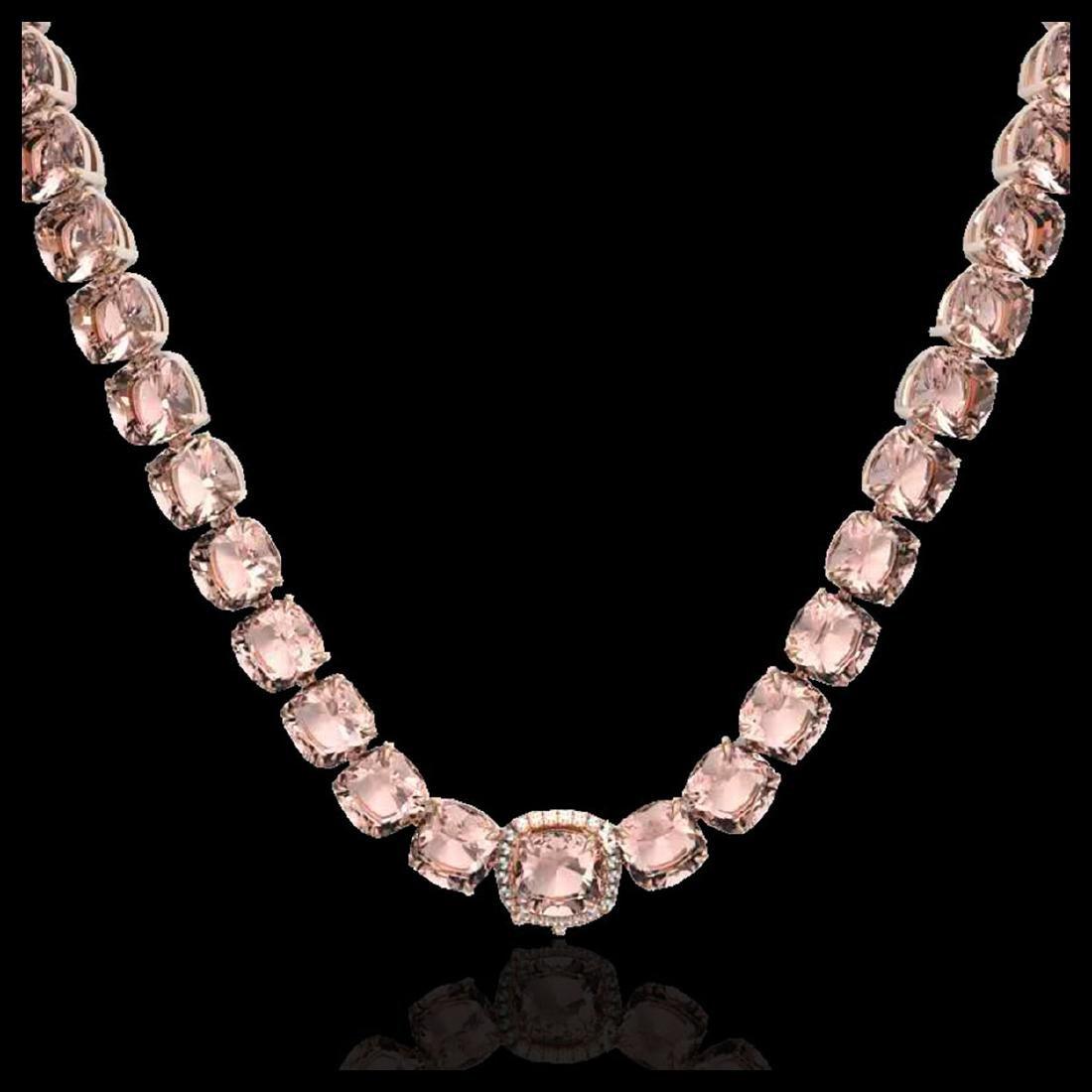 87 ctw Morganite & Diamond Necklace 14K Rose Gold - - 2