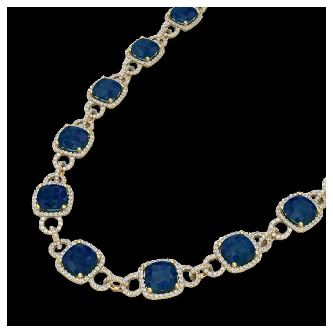 56 ctw Sapphire & VS/SI Diamond Eternity Necklace 14K