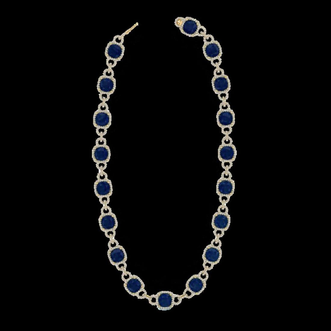 56 ctw Sapphire & VS/SI Diamond Eternity Necklace 14K - 2