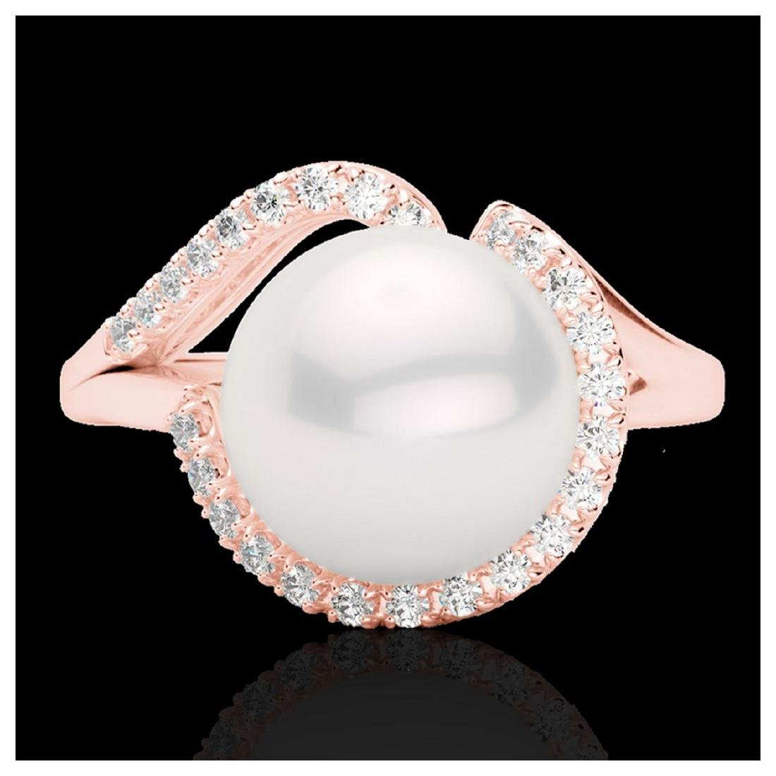 0.27 ctw VS/SI Diamond & White Pearl Ring 14K Rose Gold