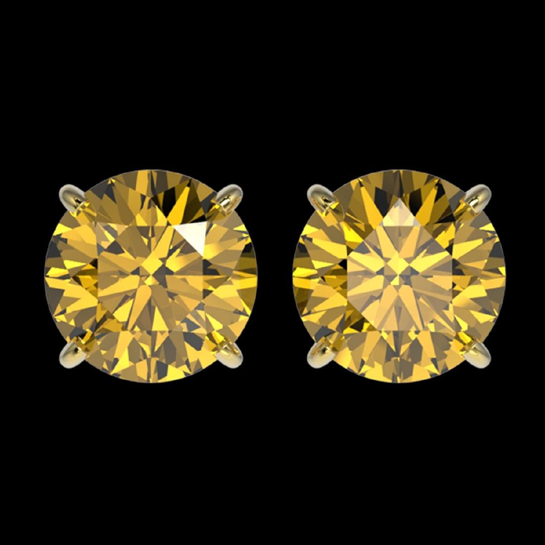 3 ctw Intense Yellow Diamond Stud Earrings 10K Yellow