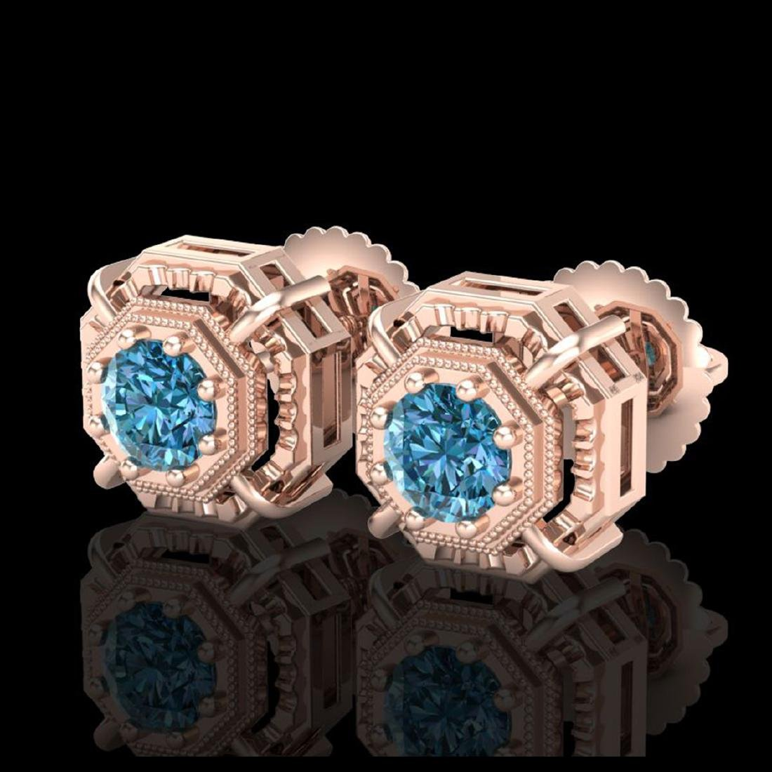 1.11 ctw Fancy Intense Blue Diamond Art Deco Earrings