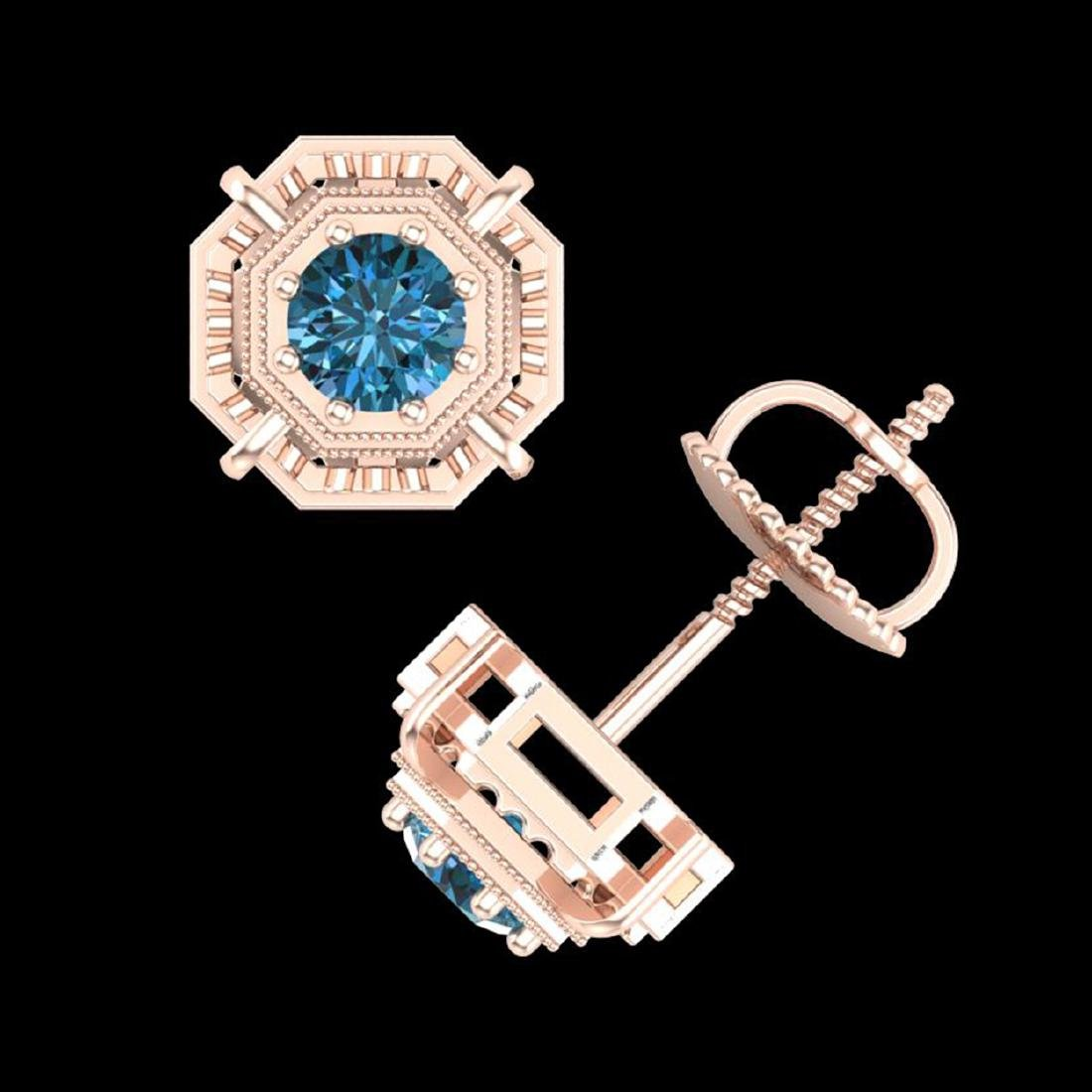 1.11 ctw Fancy Intense Blue Diamond Art Deco Earrings - 3