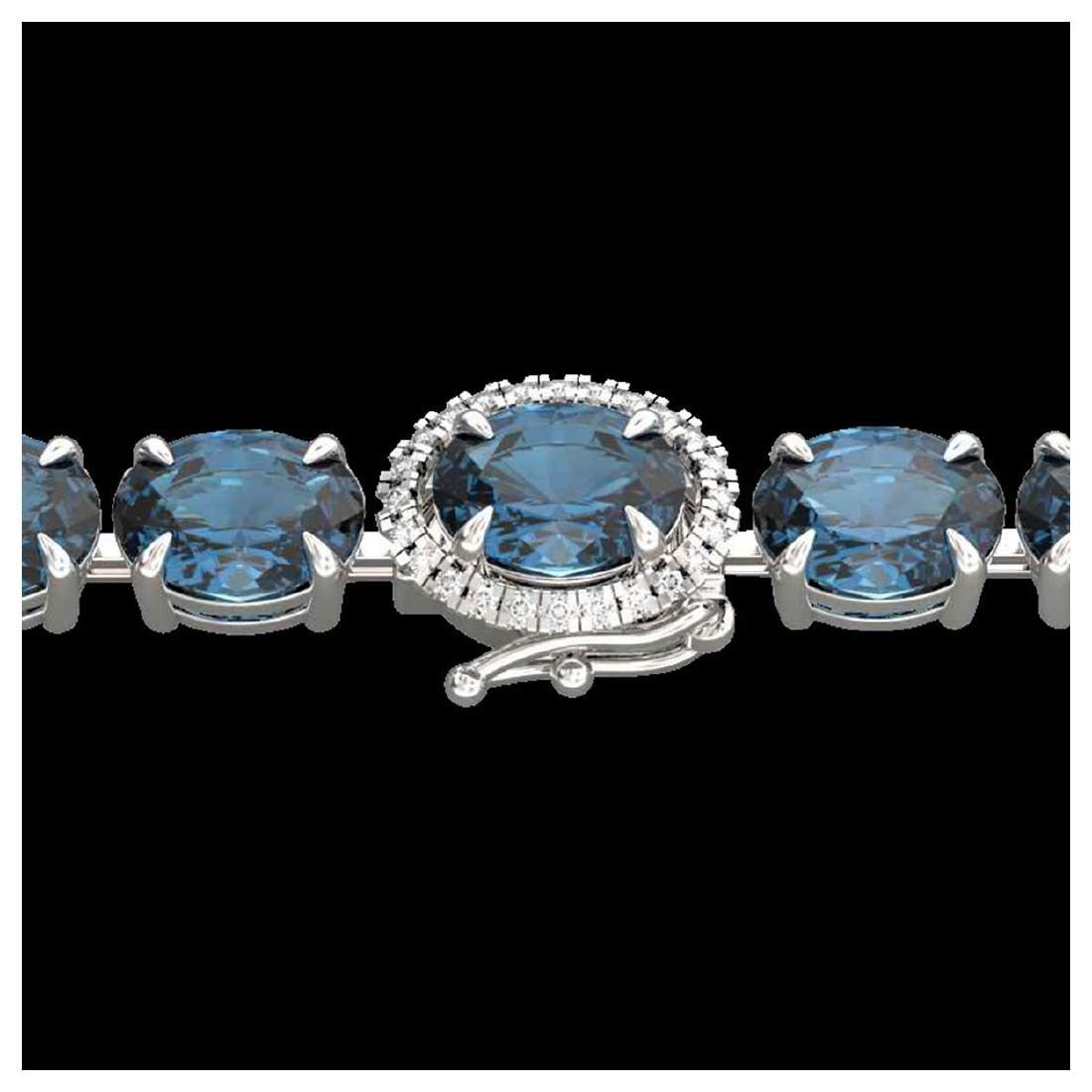 36 ctw London Blue Topaz & VS/SI Diamond Bracelet 14K