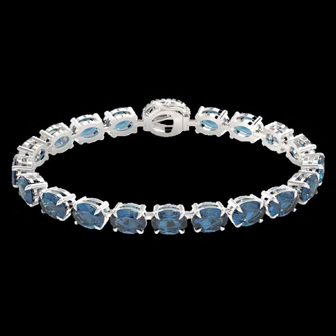 36 ctw London Blue Topaz & VS/SI Diamond Bracelet 14K - 2