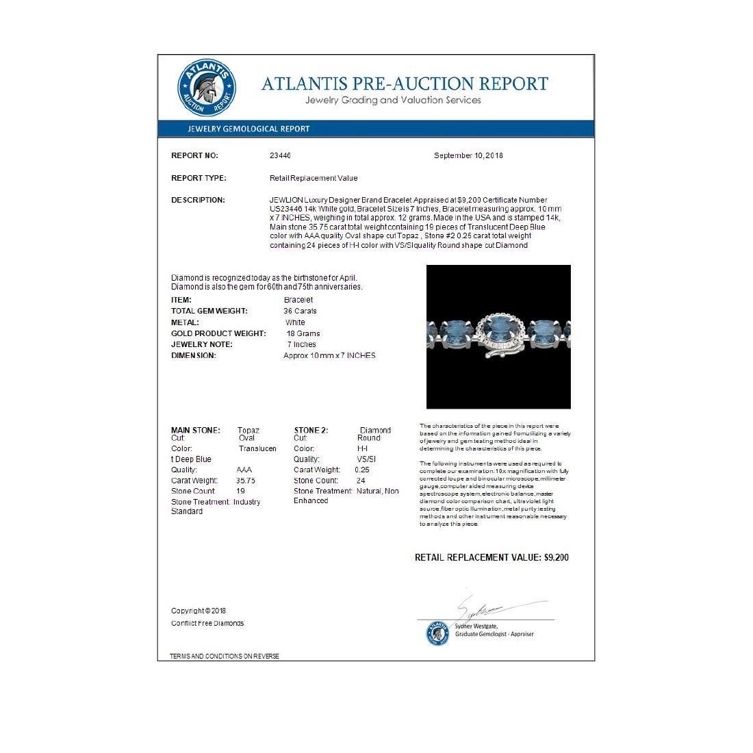 36 ctw London Blue Topaz & VS/SI Diamond Bracelet 14K - 3