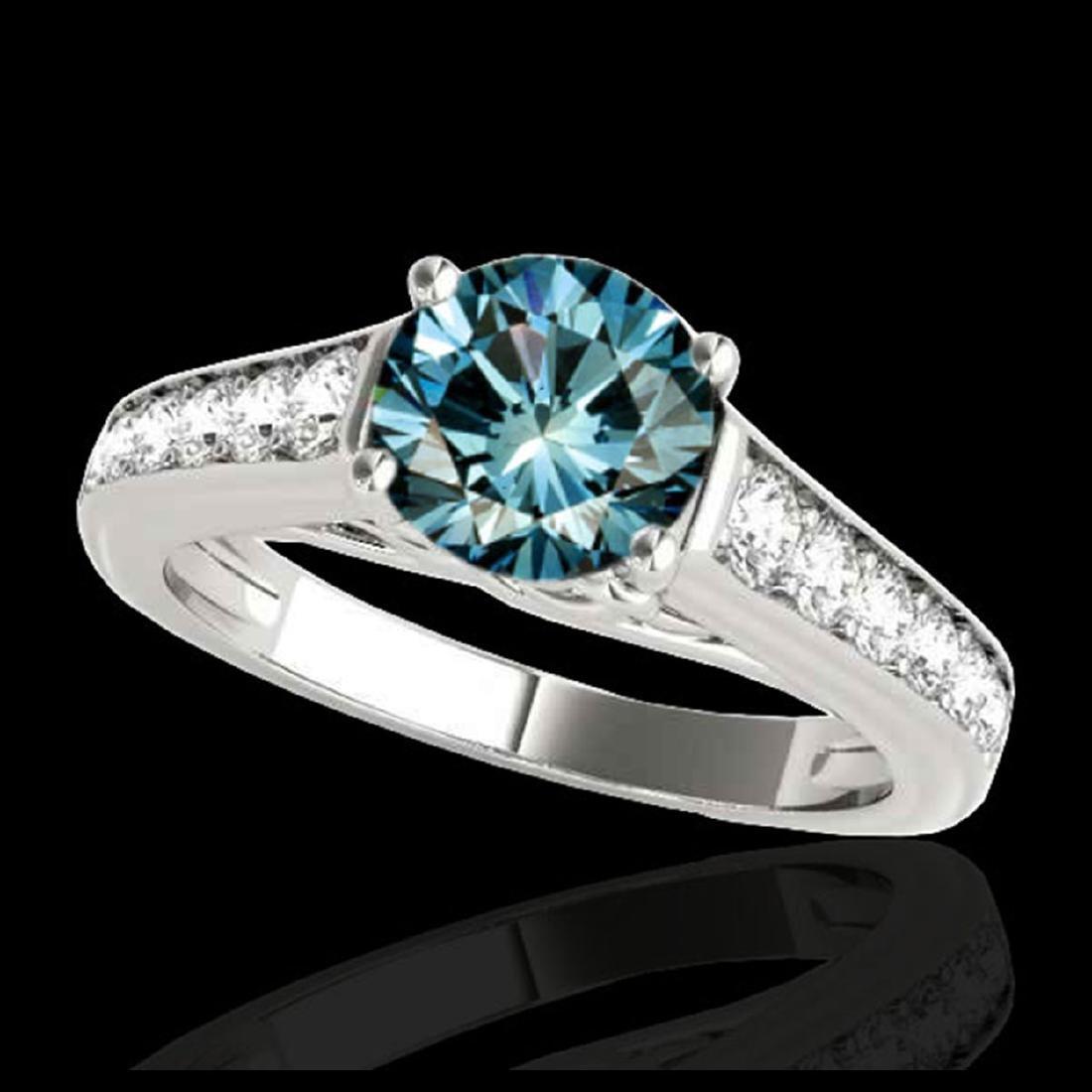 1.50 ctw SI Fancy Blue Diamond Solitaire Ring 10K White