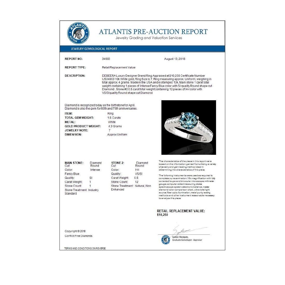 1.50 ctw SI Fancy Blue Diamond Solitaire Ring 10K White - 3