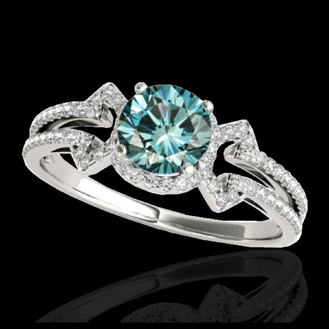 1.36 ctw SI Fancy Blue Diamond Solitaire Ring 10K White