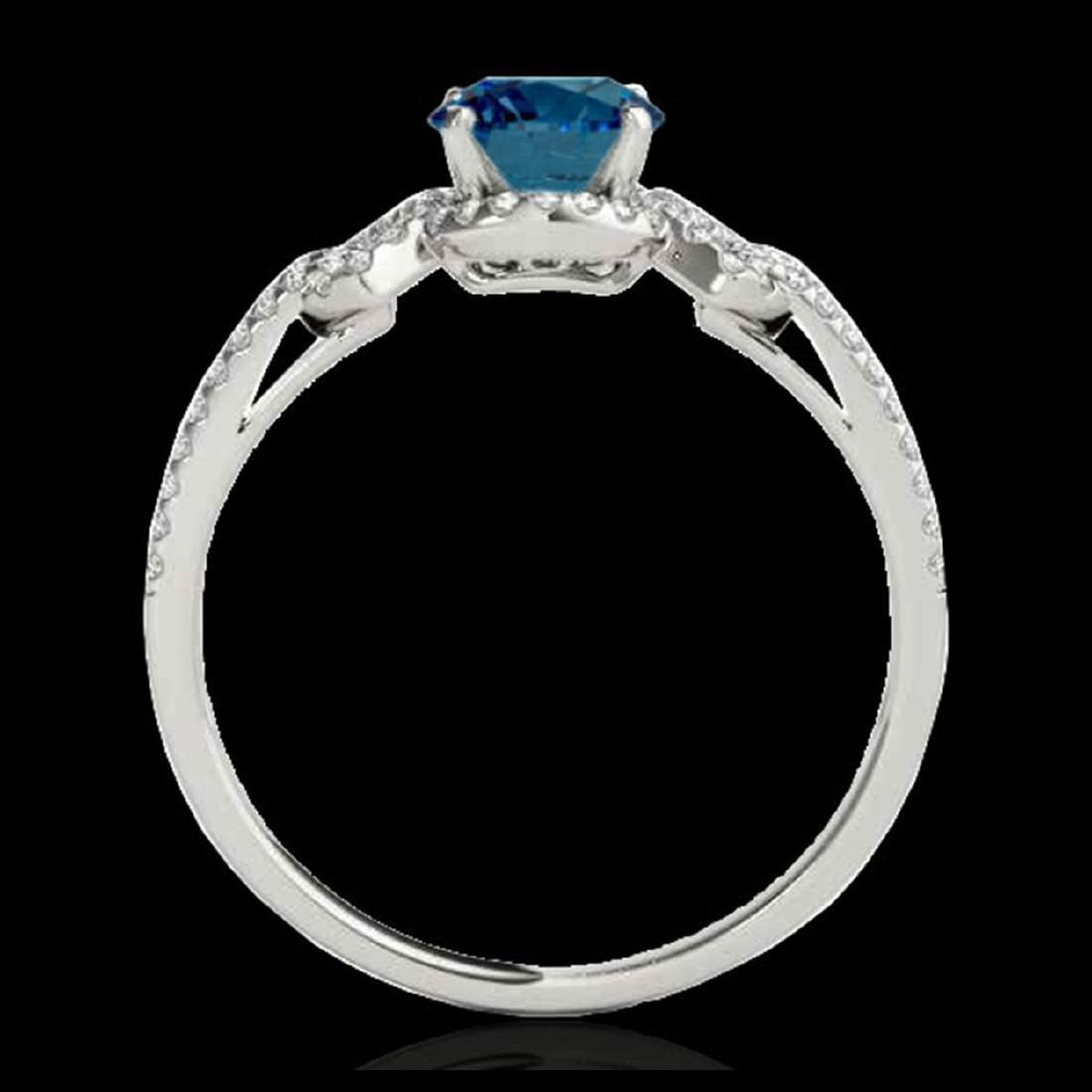 1.36 ctw SI Fancy Blue Diamond Solitaire Ring 10K White - 2